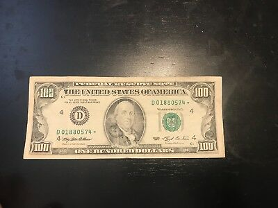 1993 100 Federal Reserve **star** Note. $100 Usd Low Serial 01880574