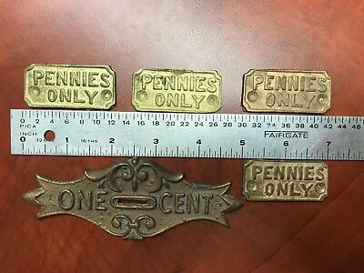 Antique Vintage Penny Machine Trade Stimulator Coin Slot Entry Castings