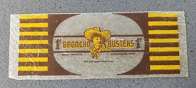 1920's Vintage Broncho Busters 1 Cent Candy Bar Wrapper Brock Candy Co Chatt Tn