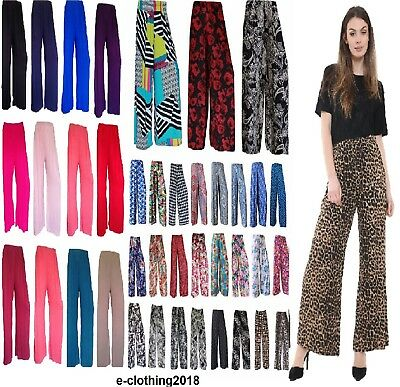 0ed0051090cdd Ladies Floral Print Palazzo Trousers Womens Summer Wide Leg Pants Plus Size  8-26