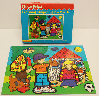 """VTG 1992 Fisher Price Little People Learning Shapes Jigsaw Puzzle 11"""" x 11"""" 20PC"""