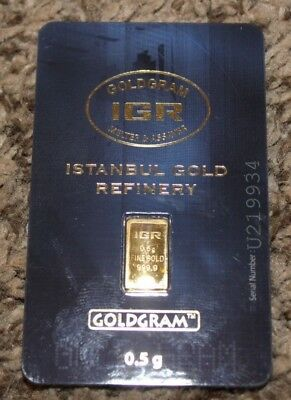 .5 gram gold bar IGR GOLDGRAM .9999 Fine Gold ISTANBUL GOLD REFINERY