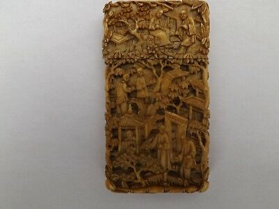 ANTIQUE CHINESE HAND CARVED CARD CASE CANTON 19th CENTURY.