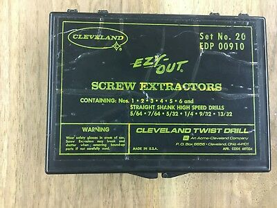 6 -PC CLEVELAND EZY OUT SCREW EXTRACTORS SET NO 20 With DRILL BITS