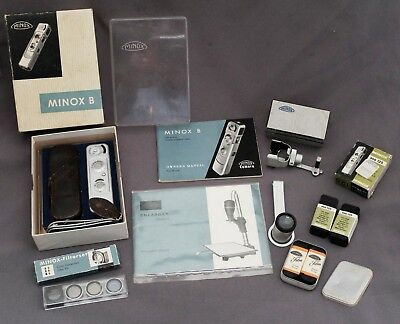 Vintage Minox B subminiature camera with box, film, papers & accessories.