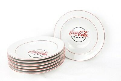 Coca Cola Cafe Collectible Soup Bowl White Red Gibson Dinnerware China Set of 7