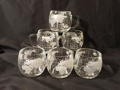 Vintage Nestle Nescafe Etched Frosted World Globe Glass Mugs Cups Set of 6