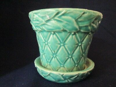 FLOWER POT w/SAUCER Vintage McCOY ART pottery QUILTED pattern TURQUOISE gloss EX