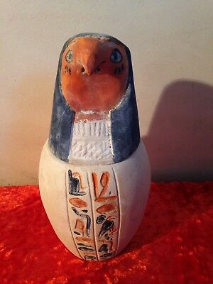 Rare Antique Ancient Egyptian qebehsenuef limestone canopic jar 1673-1625 BC
