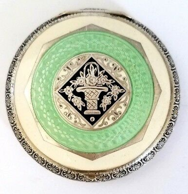 Vintage Sterling Silver hallmarked Austria 935 Mint Green Guilloche Compact. SEE