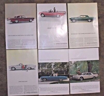 LINCOLN CONTINENTAL Magazine ADS 1963 1969 1970 Lot of 11 ADS