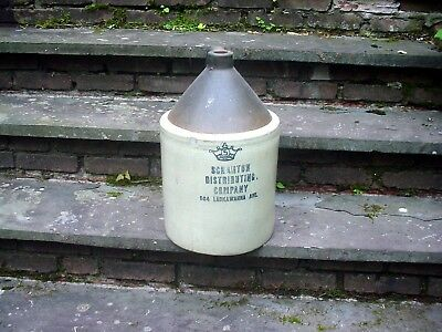 Vintage CROWN 5 Gallon WHISKEY STONEWARE Jug Scranton Distributing Scranton, Pa.
