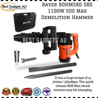 Bayer BDHM5KG 5KG 1100W SDS Max Demolition Hammer Durable Heavy Duty Design