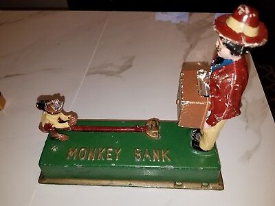 Vintage Cast Iron Monkey Bank Replica James D. Capron Collection WORKS GREAT!!