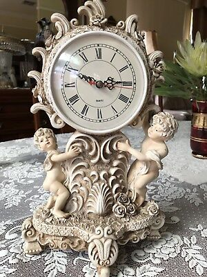 Antique Vintage clock Marble style with Cherubs angels