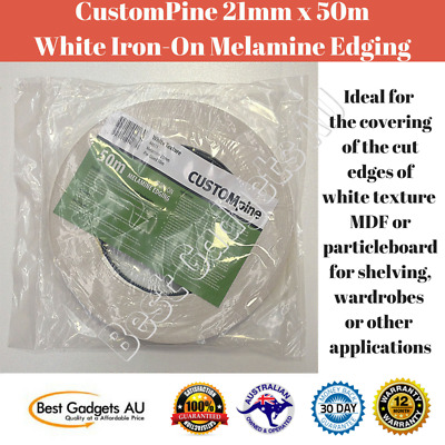 CustomPine 21mm x 50m White Iron-On Melamine Edging MDF Particleboard Edge Tape