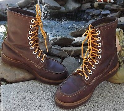 Vintage 1950's Foremost leather wedgeheel work boots. GREAT SHAPE! 7 1/2