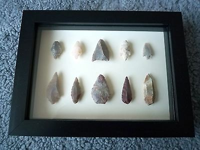 Neolithic Arrowheads in 3D Picture Frame, Authentic Artifacts 4000BC (0878)