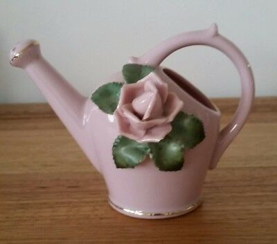 Vintage Miniature Pottery Watering Can Ornament Pink Gilded