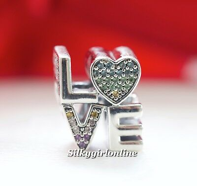 a6e5f57be AUTHENTIC PANDORA SILVER Multi-Color CZ Love Charm 797189NRPMX ...