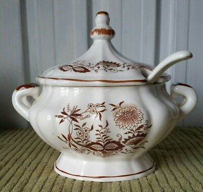 Vintage Soup Tureen With Ladle and Lid Brown Pattern on Cream