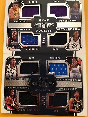 """2017-18 Dominion Donovan Mitchell (2) Card Lot Of """"Quad"""" Rookie Jersey /99!!!!!"""