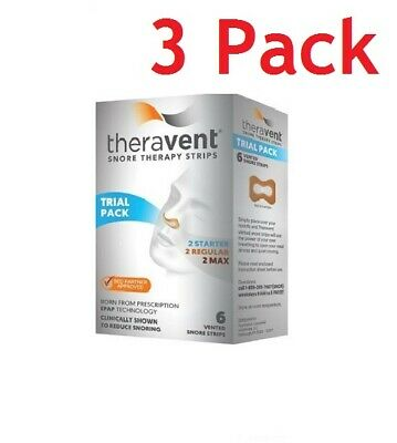 Theravent Snore Therapy Strips, Trial Pack, 6ct, 3 Pack 858076006002A580