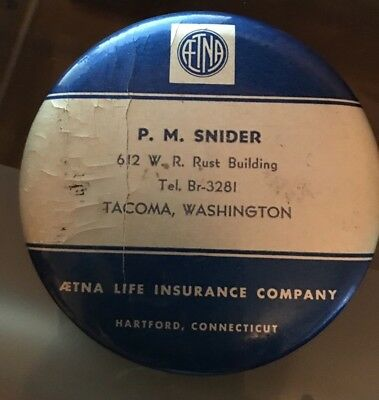 Vintage Collectible AETNA Life Insurance Company Advertising Pocket Mirror