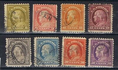 United States 1912 Franklin selection to 50c SG 515-17, 519, 521-24 Used