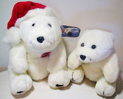 "10"" Coca-Cola Coke Polar Teddy Bear Stuffed Animal Toy 1996 Plush Design Tag Lot"
