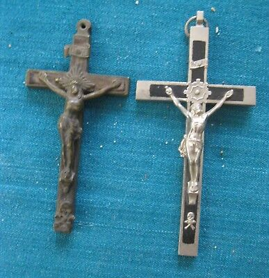 Two Antique Pectoral  Crucifixes With Skull Synbols