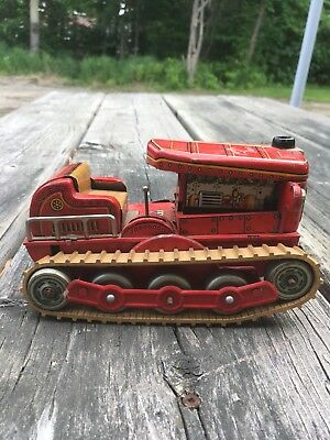 Vintage Modern Toys Battery Operated Tin Tractor Made In Japan Old Toy