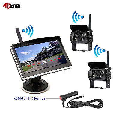 """2x Wireless Back up CCD Camera + 5"""" Suction Monitor For Truck RV Car Van 12-24V"""