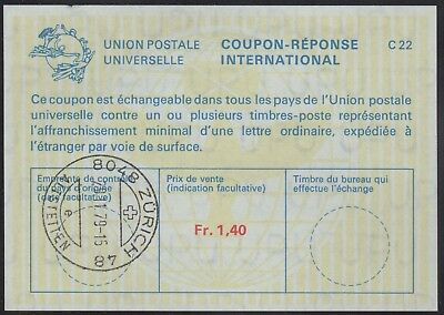Switzerland 1979 International Response Coupon, issued in Zurich