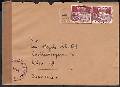 1951 Switzerland part cover to Vienna Austria, opened by censor