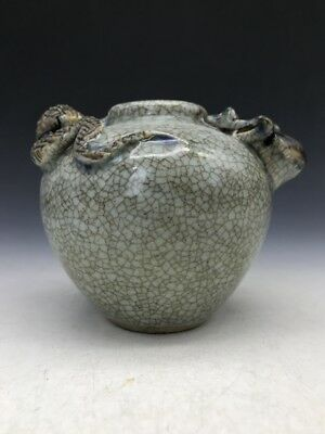 collect China carving two snakes ceramics Jar or vase.  q828
