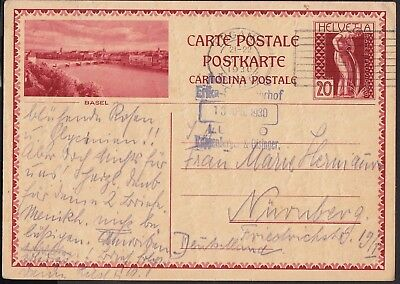 Switzerland 1930 Postcard, Lugano Station to Nurnberg, Germany