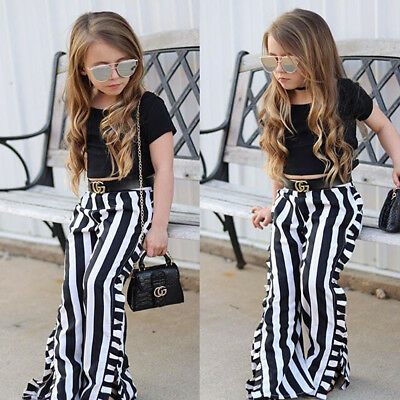 Toddler Kids Baby Girls T-shirt Tops+Pants Summer Casual Outfit Clothes 2PCS USA