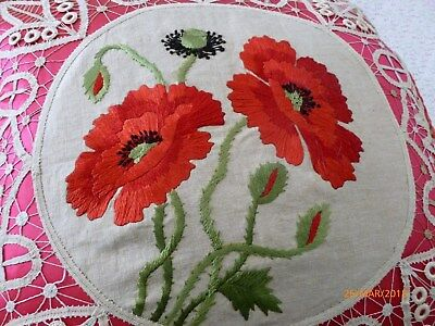 Victorian PARLOR PILLOW w/ POPPIES and BATTENBURG Tape LACE