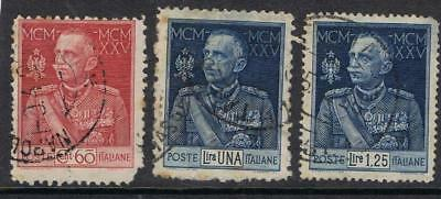 Italy 1925 Victor Emmanuel 25 year Jubilee SG 188-90 Used