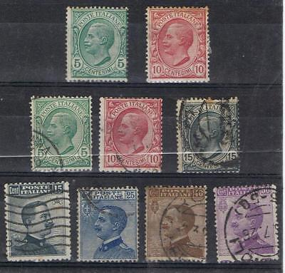 Italy 1906 Victor Emmanuel set SG 75-79, 90  Used + 2 Mint MH