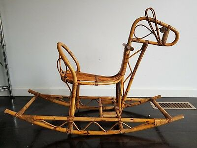 Vintage Cane Rocking Horse, Recently Restored