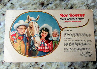 Rare 1949 1940s Roy Rogers Gabby Hayes Dale Evans Quaker Oats Cereal Premium