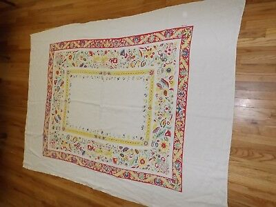 Vintage Carrie Wilson Large Rectangle Tablecloth 40s 50s