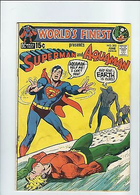 WORLDS FINEST (1941) #203 DC Comics water stain front and back covers