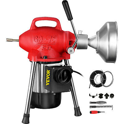 """Sectional Drain Cleaning Machine 500W Drain Cleaner 75' x 5/8"""" Spring Cable"""