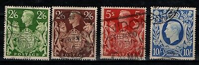 Great Britain GB 1939 1948 King George VI  High Value short set to 10/- Used