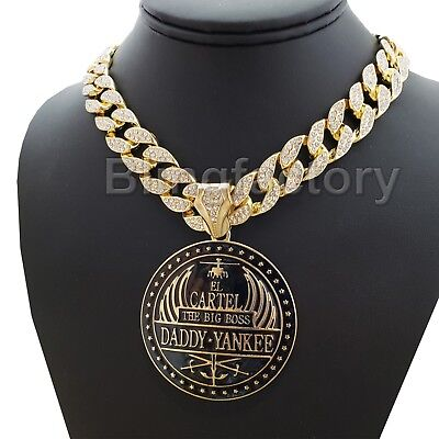 Iced Out Hip Hop Lab Diamond Gold Plated El Cartel Daddy Yankee