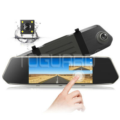 "7"" IPS Touch Screen Auto Kamera Rear View Mirror Dashcam FHD 1080P DVR Recorder"