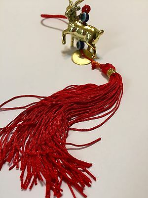 3 Pieces New Year 2015 God Luck Golden Sheep With Evil Eye Amulet Tassel